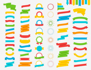 Vector set of ribbon, award and sunburst colorful flat style set isolated on transparent background for decoration, logo, emblem, tag, badge. 10 eps