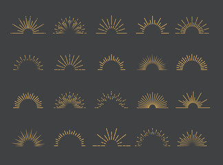 Vector sunburst set gold style isolated on gray background for emblem, logo, tag, stamp, t shirt, banner. 10 eps