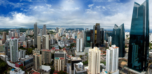 Wall Mural - Panoramic view of Panama City Skyline