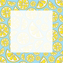 Card with hand drawn lemons and copyspace. Vector.