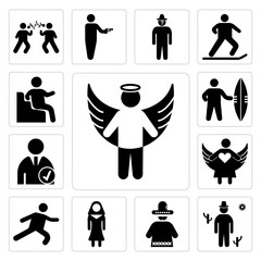 Set of Angel apparition, Cowboy on desert, Mexican man, Nun, Long Jump, with open arms, Checked Profile, Sufer board, Sitting Down icons
