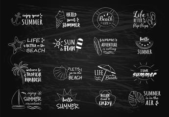 Summer vacations - set of chalk drawing on blackboard. Vector.