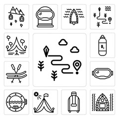 Set of Map, Raft, Suitcase, Tent, Porthole, Goggles, Ski, Oxygen tank, Camping icons