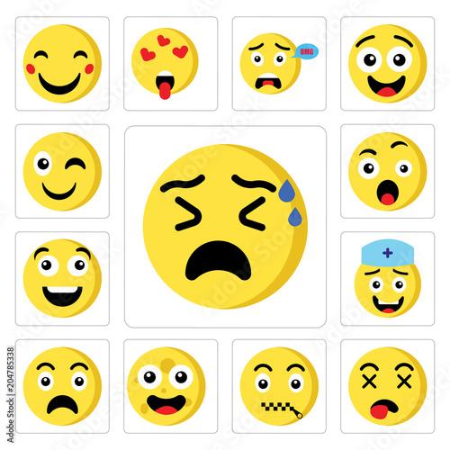 Set of Nervous emoji, Dead Muted Moon Sad Nurse Happy