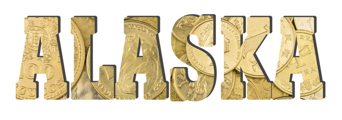 Alaska. Shiny golden coins textures for designers. White isolate