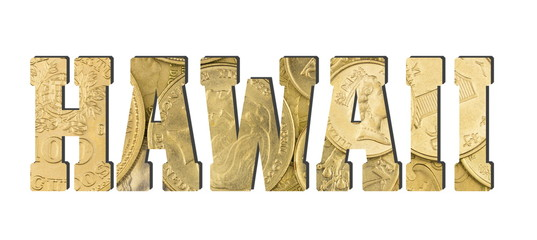 Hawaii. Shiny golden coins textures for designers. White isolate
