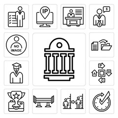 Set of public sector, realtime, body mass index, spoiler, photo contest, pdca, general knowledge, data migration, not available icons