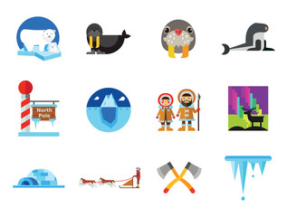 North Pole Icon Set. Polar Bears Dogteam Eskimos North Lights North Pole Igloo Lumberjack Axes Iceberg Whale Walrus Ice Walrus Face Sea Calf