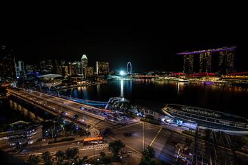 Aerial Night Panoramic View of Singapore City