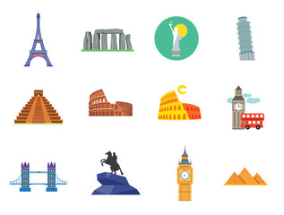 Tourist attraction icons set. Thirteen vector icons of Eiffel Tower, Big Ben, Pyramids and other tourist attractions