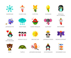 Toys characters icons set with elephant, bear, penguin and fox. Twenty two multicolored vector illustrations