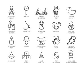 Toys vector icons set. Twenty two line illustrations