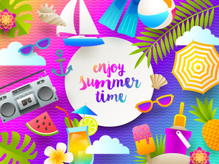 Flat design vector illustration. Summer holidays and beach vacation things and items on a bright gradient background.