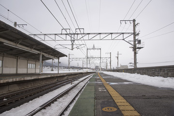 Snow-capped train station in winter