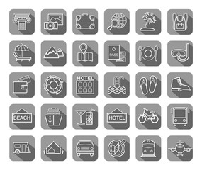 Travel, vacation, tourism, recreation, icons, flat, outline, vector. Different types of recreation and ways to travel. White line drawings on a gray background with shadow. Vector.