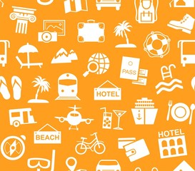 Travel, vacation, tourism, recreation, seamless pattern, monochrome, orange, vector. Different types of recreation and ways to travel. White pictures on an orange field. Monochrome background