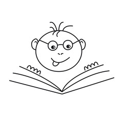cute simple black outlined swot or greasy grind vector cartoon icon, school boy with glasses studying book, education or learning, knowledge concept