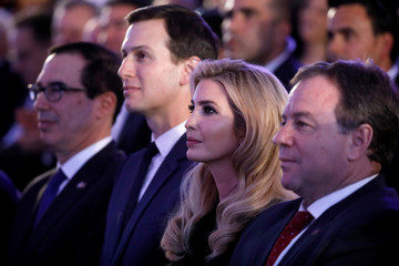 Senior White House Advisers Jared Kushner and Ivanka Trump sit next to U.S. Treasury Secretary Steven Mnuchin during a reception held at the Israeli Ministry of Foreign Affairs in Jerusalem ahead of the moving of the U.S. embassy to Jerusalem
