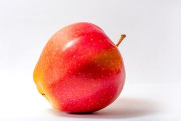 Red apple closeup. Juicy fruit. Healthy food. Vitamins.