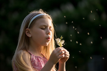 pretty little girl blowing a dandelion on a summer day in the park closeup