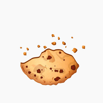 Freshly baked chocolate crumbs chips isolated on white background. Homemade choco chip cookies vector illustration. Sweet cookies with chocolate dots. Delicious pastry