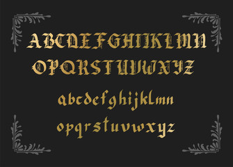 Blackletter gothic script hand-drawn font.