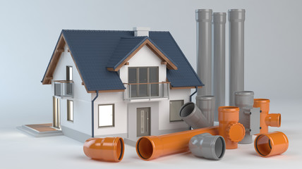 House and elements for sewer system