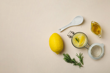 Fresh ingredients for homemade effective acne remedy on light background
