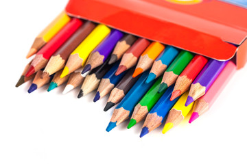 Number of colored pencils in a box isolated on white background