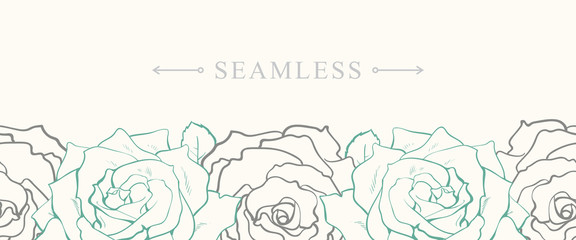 Rose flowers border seamless pattern in sketch style on white background - isolated tender blooms hand drawn line contour. Romantic floral vector illustration for wedding or textile design.