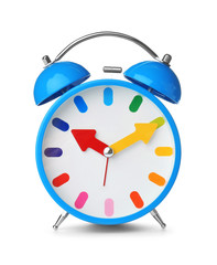 Alarm clock on white background. Time change concept