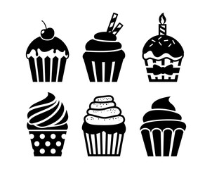 Black isolated cupcakes icons set. Cupcakes with topping, cream, birthday candle, cherry and sprinkles.