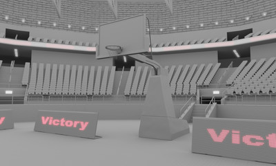3d clay render of indoor basketball stadium with lights