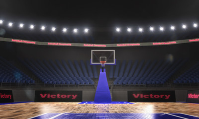 3d render of indoor basketball stadium with lights
