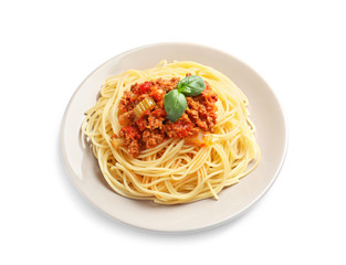 Plate with delicious pasta bolognese on white background