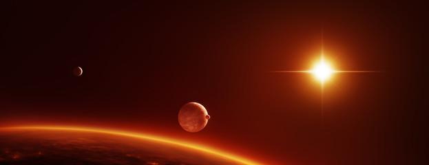 Weltall Szene mit Planeten, Monden und einem roten Zwergstern