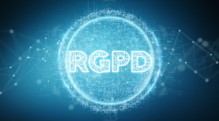 Digital GDPR interface 3D rendering