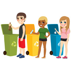 Young teenager boy and girls recycling waste sorting materials paper plastic and glass