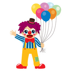 Cute little boy clown holding colorful balloons waving hand and happy face expression