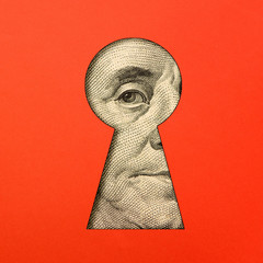 Benjamin Franklin's eye in the keyhole