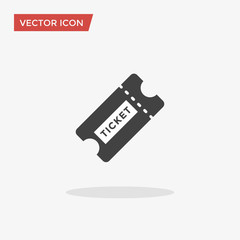 Ticket Icon in trendy flat style isolated on grey background. Vector illustration, EPS10.