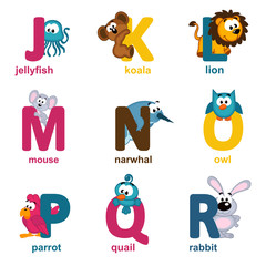 alphabet animals from J to R - vector illustration