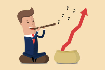 Businessman playing pipe to make the graph grow. Vector illustration