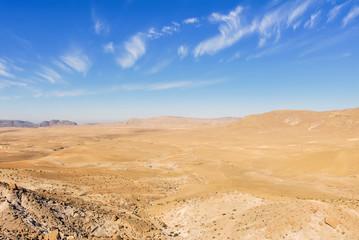 Wadi Rum Village, Jordan, 17 February 2008: Desert Landscape of Wadi Rum, with, stones, bushes and the sky