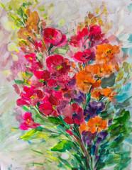 texture oil painting flowers, painting vivid flowers, flora