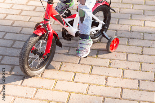 3 Years Old Happy Toddler Boy Riding Red Bike Little Kid Learns To