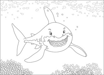Great white shark swimming over a coral reef in a tropical sea, black and white vector illustration in a cartoon style for a coloring book