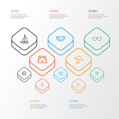 Summer icons line style set with diving mask, parasol, ball and other armature   elements. Isolated vector illustration summer icons.