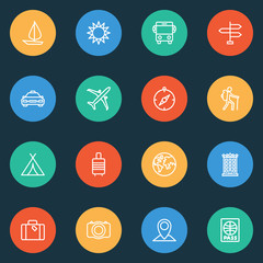 Journey icons line style set with cab, compass, hotel and other certificate 