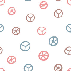 Peace signs seamless pattern. Hand drawn pacifist symbols on white background. Cute retro pattern for your design.